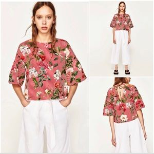 🆕 Zara Floral Striped Bell Sleeve Top - M